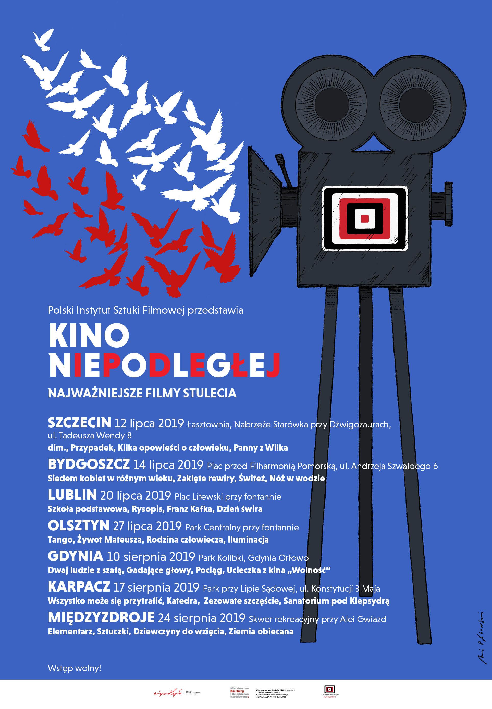 plakat z grafiką kamery, z której ulatują praki w bieli i czerwieni, pod tytułem projektu wypisane miejscowości
