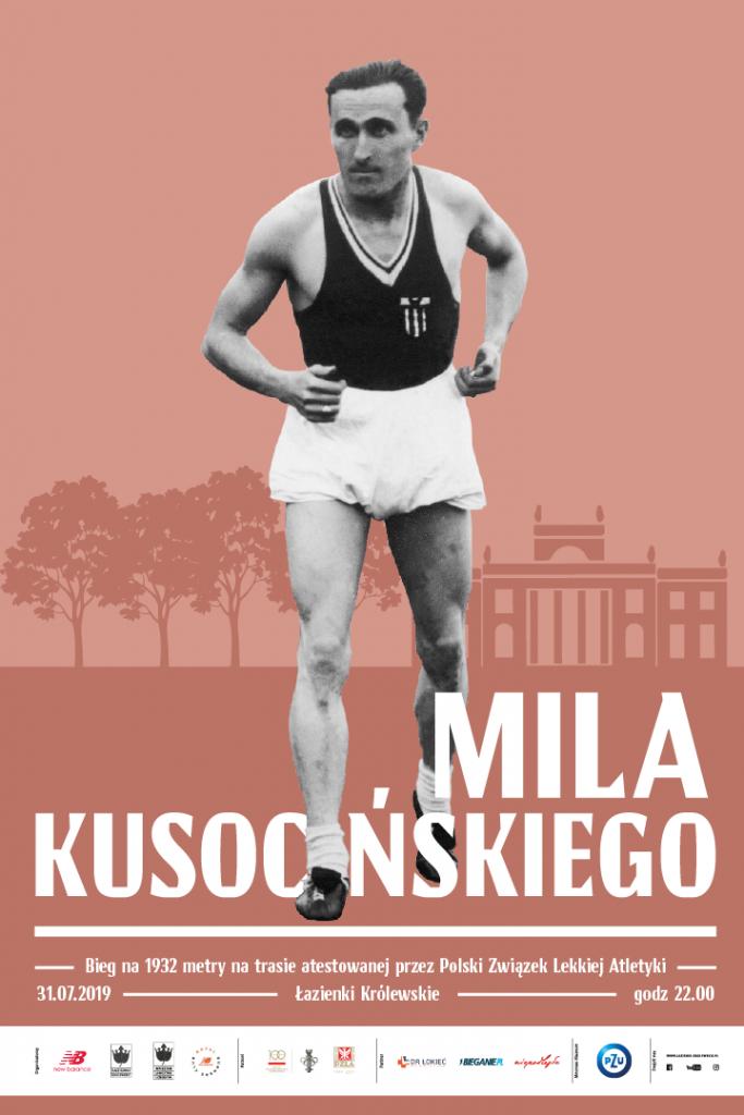 zdjęcie Kusocińskiego, w tle zarys pałacu w łazienkach, na dole logo partnerów