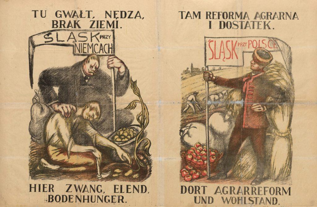 dwa kontrastowe obrazki obok siebie: na lewym gruby niemiec przyciska chłopa zbierającego kartofle do ziemi, z prawej dumny rolnik stoi wśród zbóż i kosza z jabłkami