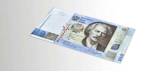 fotografia kolekcjonerskiego banknotu dziewiętnastozłotowego - przedstawia awers, na którym widnieje wizerunek Ignacego Jana Paderewskiego