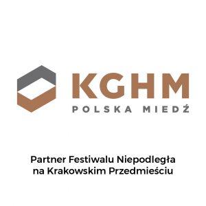 Logo KGHM z zapisem Partner Festiwalu Niepodległa na Krakowskim Przedmieściu