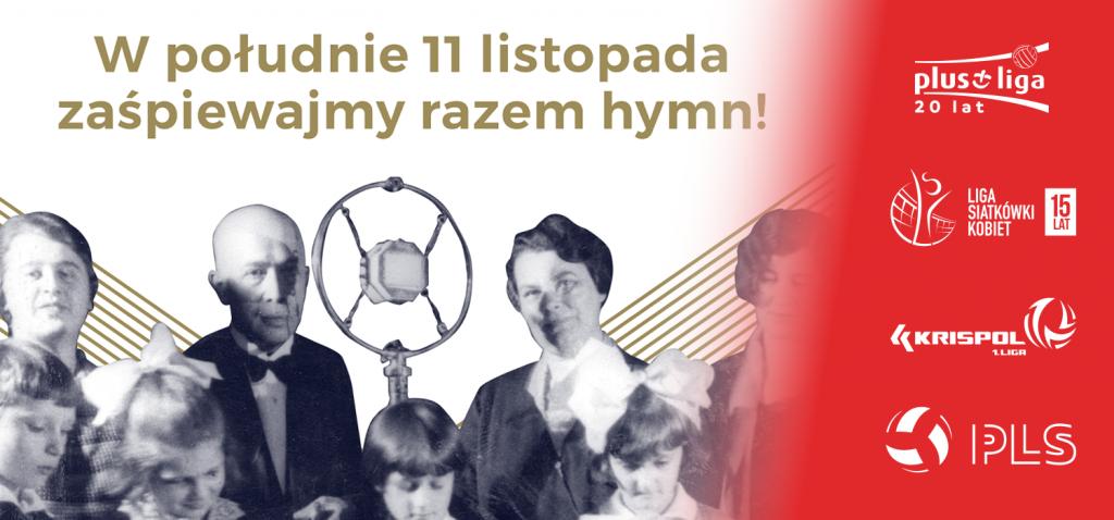 fragment plakatu akcji do hymnu z dołożonymi logami organizacji siatkówkowych