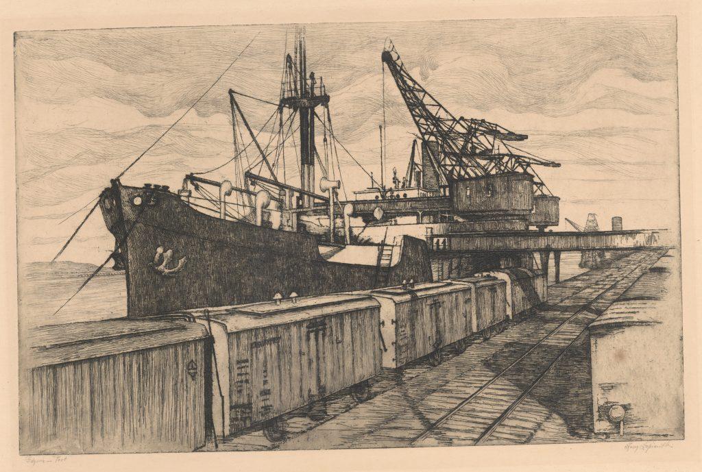grafika statku i dźwigów u nabrzeża Gdyni