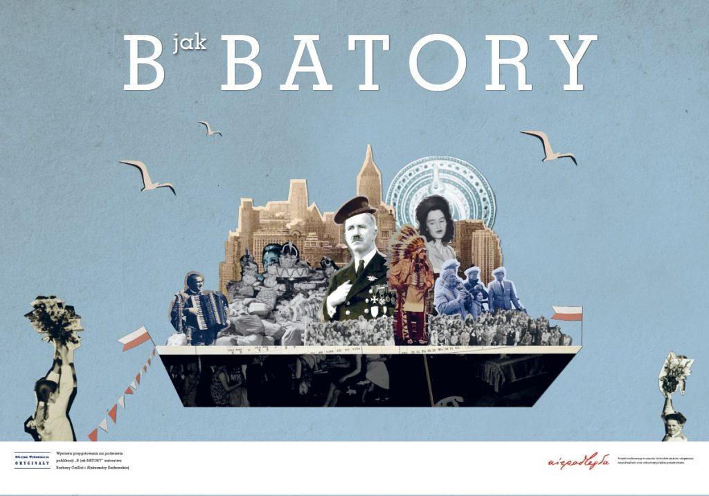 plansza z kolażem ze starych zdjęć związanych z ms batory, nad kolażem tytuł wystawy, pod belka z logo