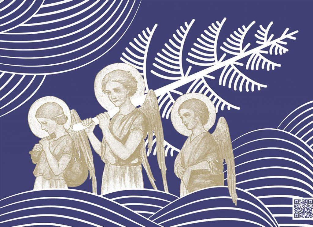 trzy anioły, środkowy niosący choinkę, wśród graficznych ozdób z białych półkolistych kresek na granatowym tle