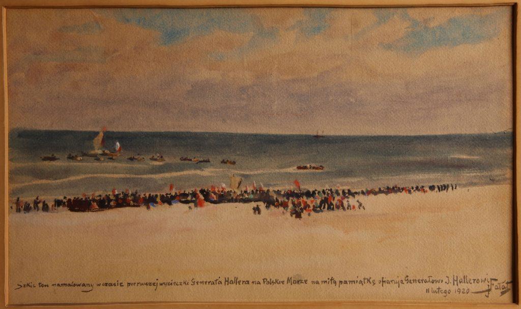 "Obraz Juliana Fałata, ""Generał Haller nad morzem"""