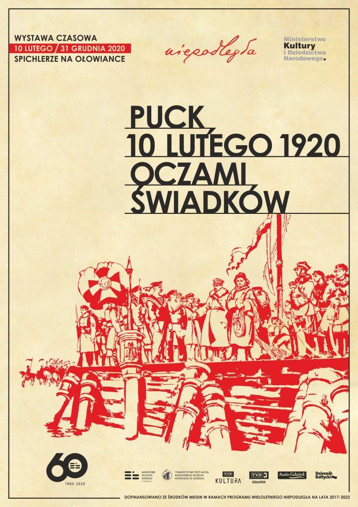 plakat wystawy Puck 10 lutego 1920 oczami świadków z logami i grafiką przedstawiającą zaślubiny