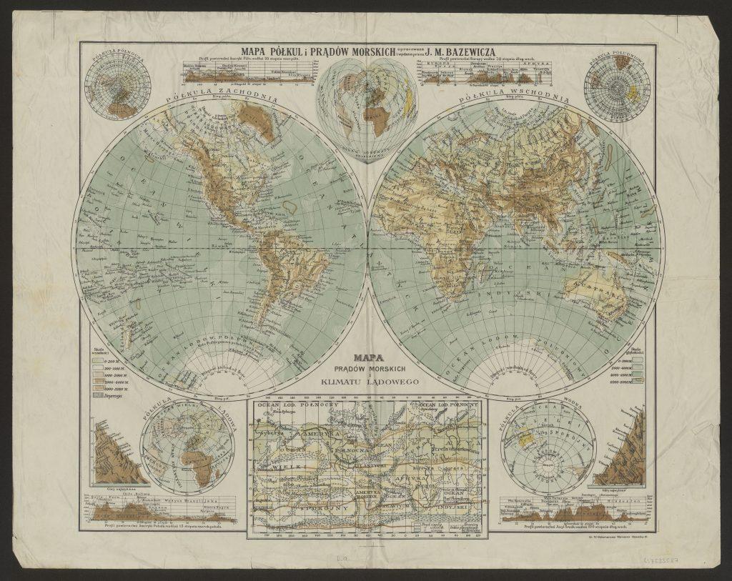 mapa świata w różnych odwzowrowaniach
