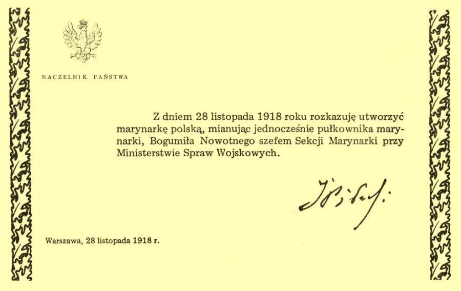 dokument (Dekret o utworzeniu marynarki polskiej) z zapisaną treścią rozkazu, podpisem Piłsudskiego, datą i orzełkiem państwowym