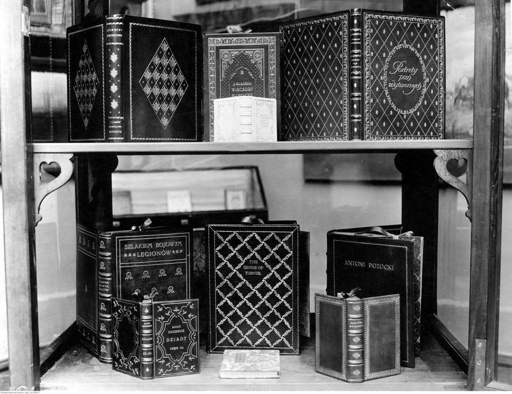 eleganckie okładki książek na dwóch półkach