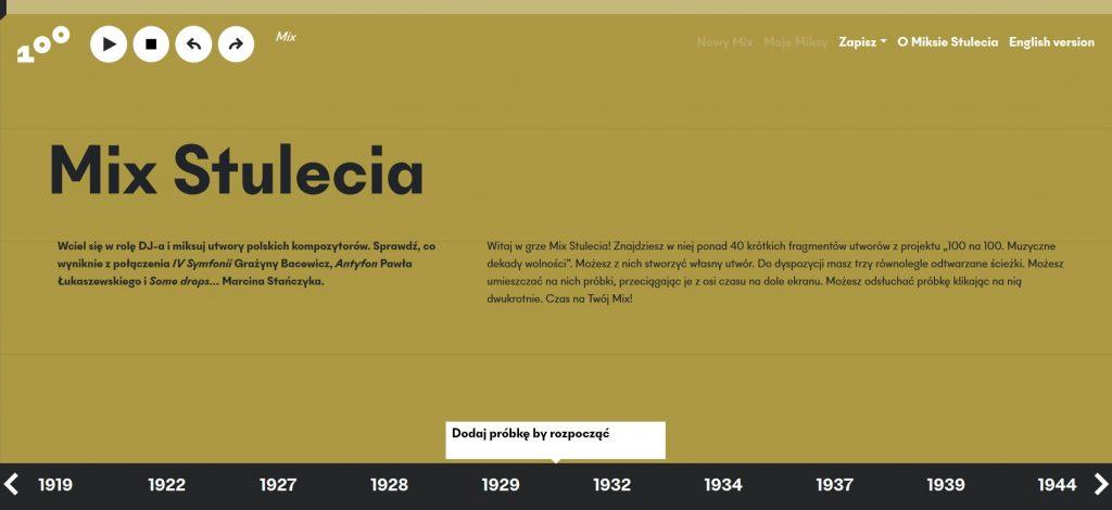 ekran na dole z osią czasu z próbkami, w centralnej części opis narzędzia, u góry przyciski do zapisywania kompozycji