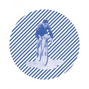 kafelek z meżczyzną na rowerze wpisanym w koło