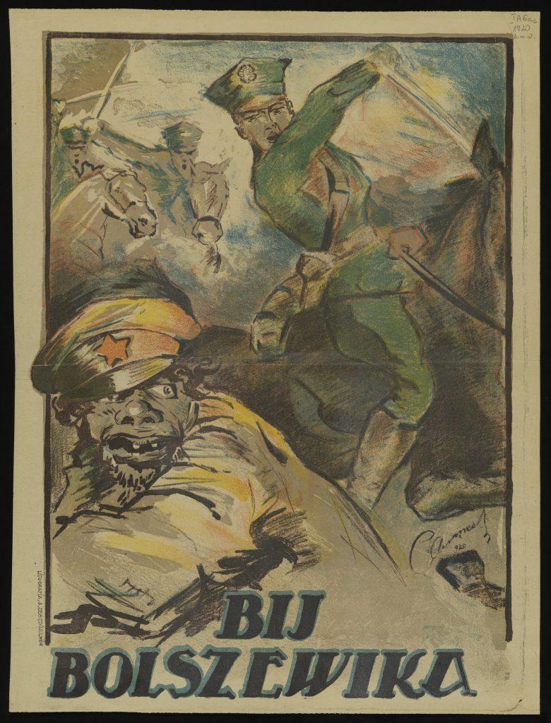 plakat z ładnym polskim żołnierzem zamierzającym się na karykaturalnie brzydkiego żołnierza bolszewików