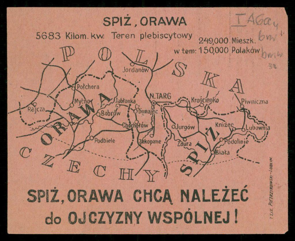 ulotka z mapą z zaznaczonymi Spiszem, Orawą i granicą Polski i Czech i hasłem Spiż, Orawa chcą należeć do ojczyzny wspólnej