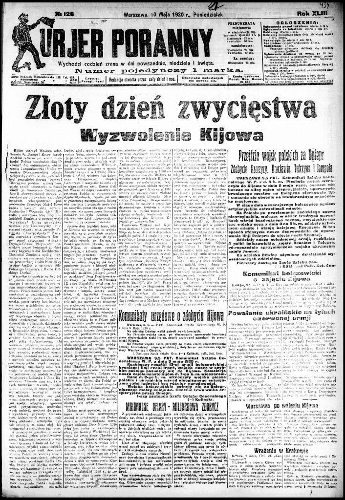 tytułowa strona gazety z kolumnami