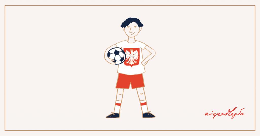 banerek z piłkarzem w koszulce z godłem. W rogu banerka logo Niepodległa