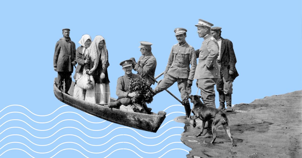 obrazek z żołnierzami na brzegu i kobietami w łódce