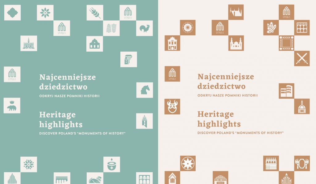 dwie okładki obok siebie z tytułem wystawy i małymi piktogramami zabytków