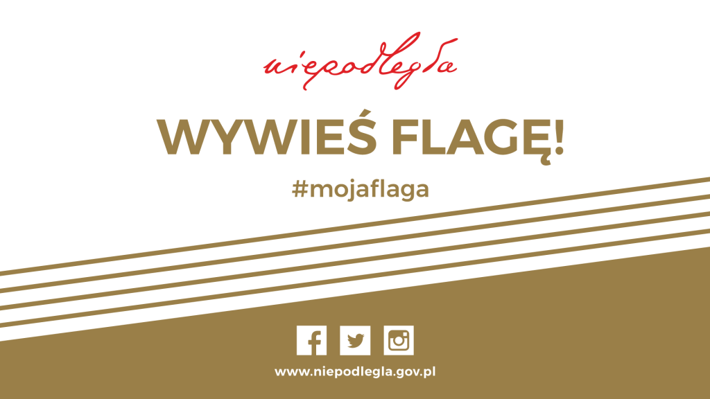 baner z logo niepodległa, hasłem Wywyieś flagę #mojaflaga i symbolami mediów społecznościowych