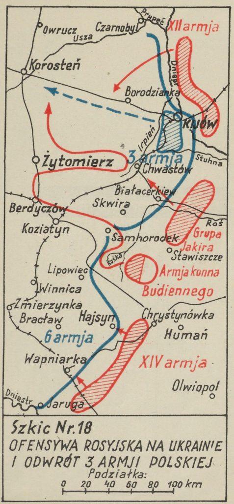 mapa okolic Kijowa z zaznaczonymi miejscowościami - na czerwono bolszewiy, na niebiesko wojska polskie