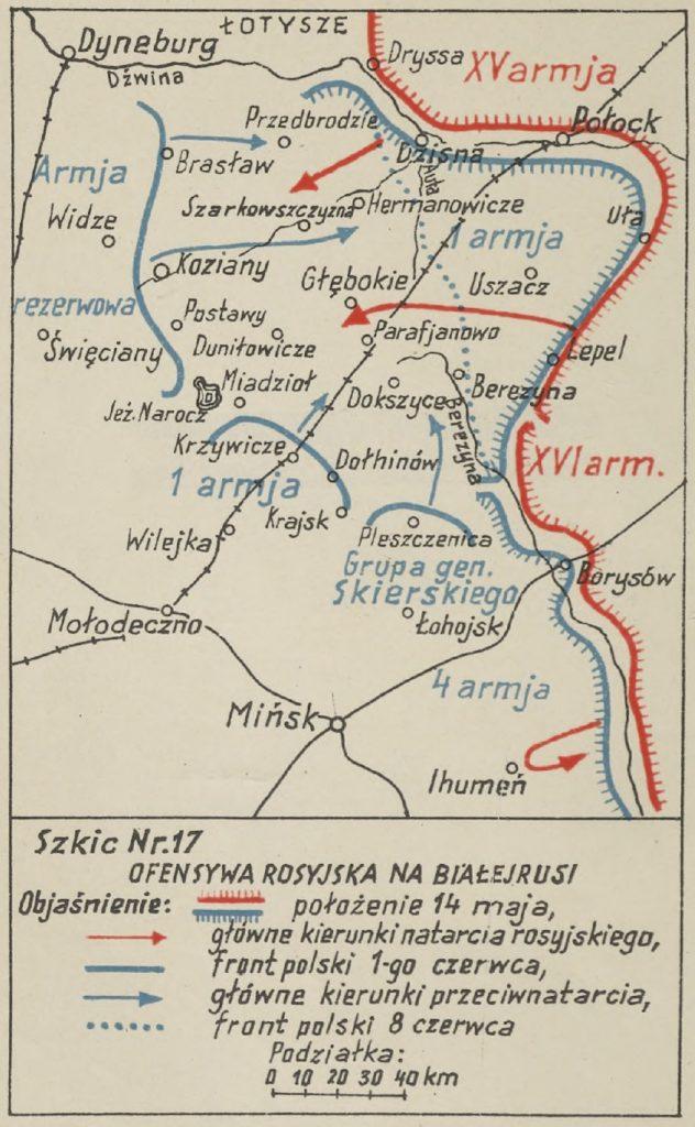 mapa rejonu Białoruci z zaznaczonymi miejscowościami - na czerwono bolszewiy, na niebiesko wojska polskie