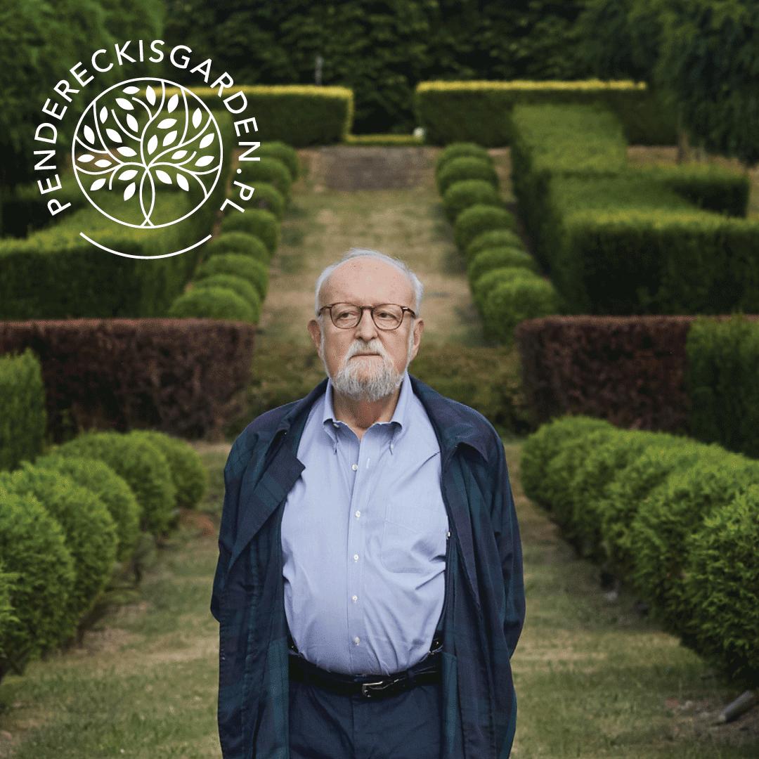 zdjęcie Krzystofa Pendereckiego w ogrodzie