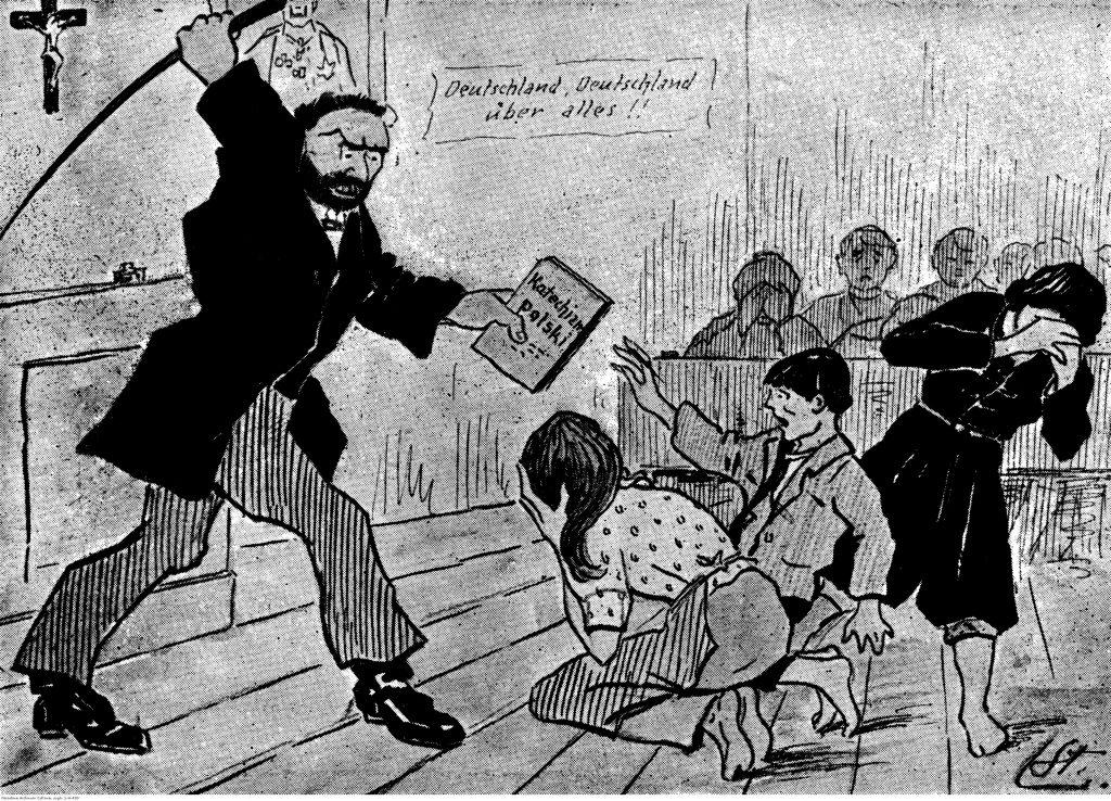 Propagandowa pocztówka polska wydawana w okresie plebiscytu na Górnym Śląsku, piętnująca terror niemiecki na Śląsku. Autorem pocztówki był Stanisław Ligoñ; na rewersie zamieszczono czterowiersz komentujący rysunek.