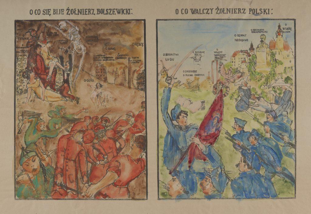 plakat z dwoma obrazkami zestawionymi na zasadzie przeciwieństa: po lewej śmierć i zniszczenie z tytułem o co się bije żołnierz bolszewicki, po prawej obrazek odwagi i dobrobytu z tytułem o co walczy żołnierz polski