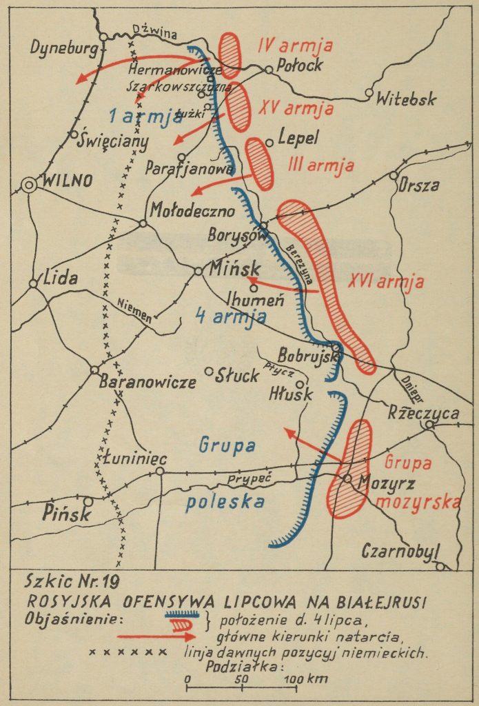 mapa okolic Mińska z zaznaczonymi miejscowościami - na czerwono bolszewiy, na niebiesko wojska polskie