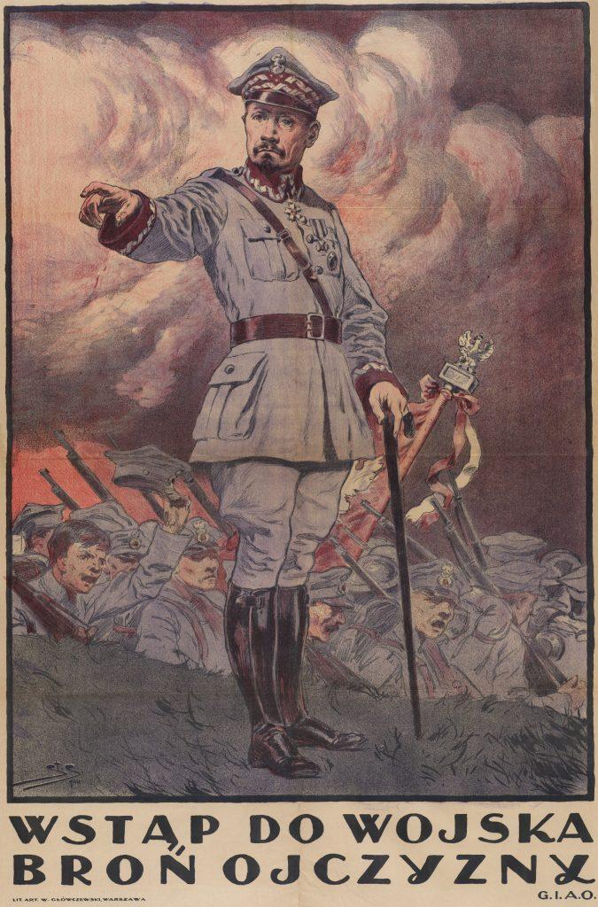 Plakat z postacią gen Hllera i hasłem wstąp do wojska broń ojczyzny