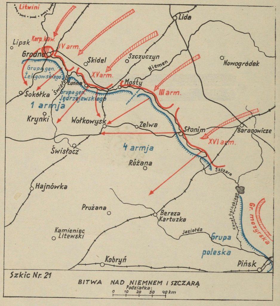 mapa okolic rzek Niemen i Szczara z zaznaczonymi miejscowościami - na czerwono bolszewiy, na niebiesko wojska polskie