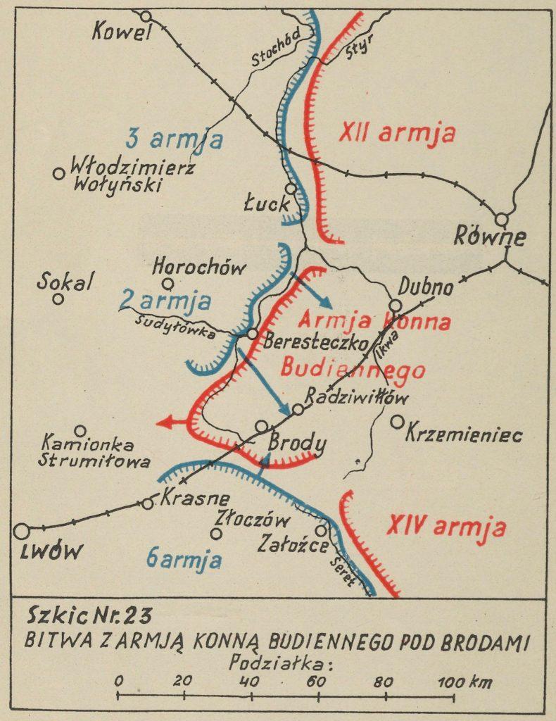 mapa okolic Łucka z zaznaczonymi miejscowościami - na czerwono bolszewiy, na niebiesko wojska polskie