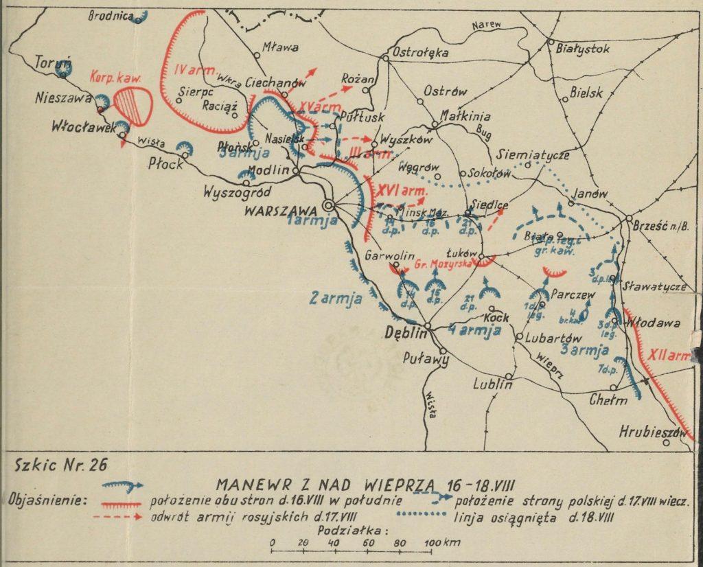 mapa okolic Warszawy z zaznaczonymi miejscowościami - na czerwono bolszewiy, na niebiesko wojska polskie