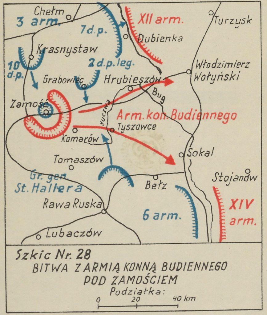 mapa okolic Zamościa z zaznaczonymi miejscowościami - na czerwono bolszewiy, na niebiesko wojska polskie