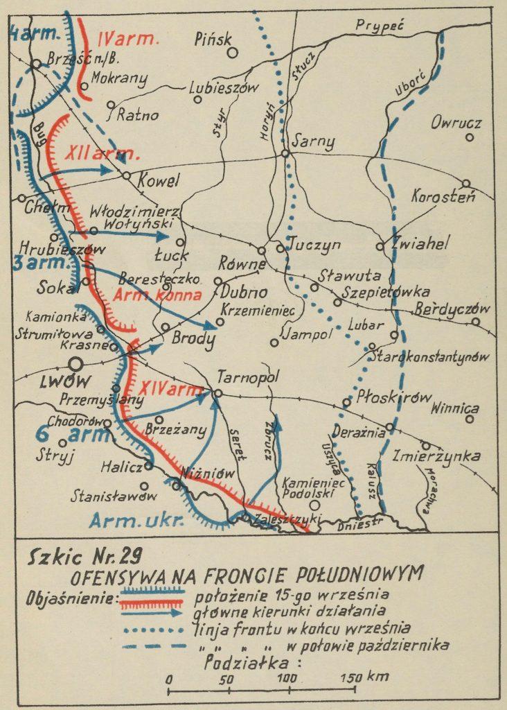 mapa okolic Lwowa z zaznaczonymi miejscowościami - na czerwono bolszewiy, na niebiesko wojska polskie