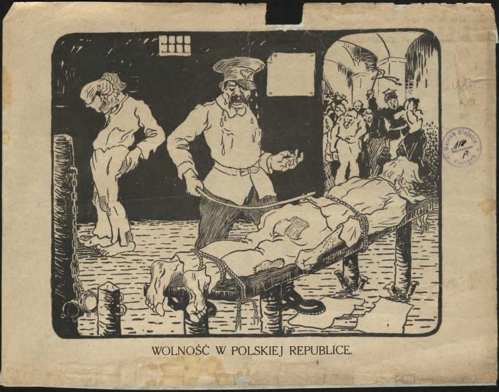 ulotka z przedstawieniem lochu, w którym polak obija laską siedzenie przywiązanego czecha