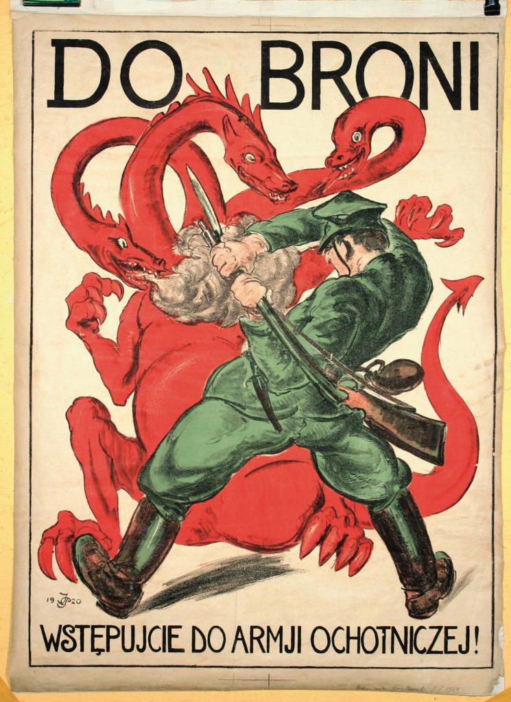"""Plakat """"Do BRONI! WSTĘPUJCIE DO ARMII OCHOTNICZEJ!"""" z wizerunkiem żołnierza nacierającego na czerwonego trójgłowego smoka"""