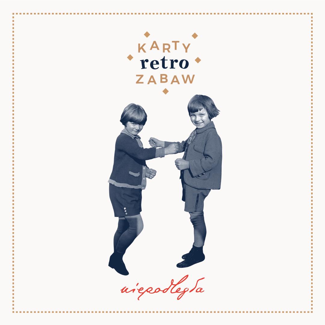 baner z logo kart retro zabaw, logiem niepodległa i wyciętą ze starego zdjęcia sylwetkami bawiących się 2 dzieci