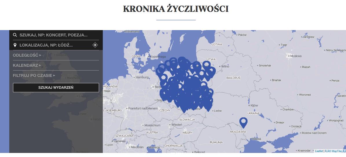 mapa z niebieskimi pinezkami