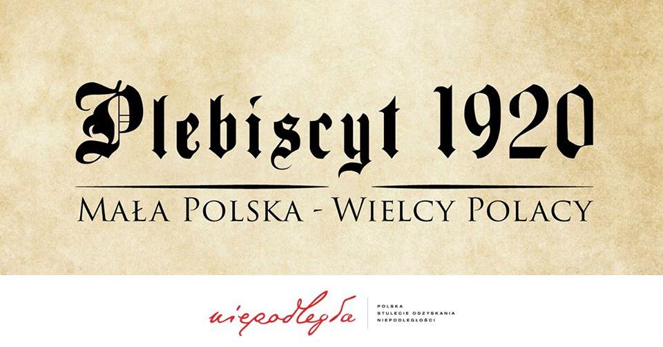 Plebiscyt 1920. Mała Polska - Wielcy Polacy. - wystawa czasowa - baner wydarzenia z logo Niepodległa