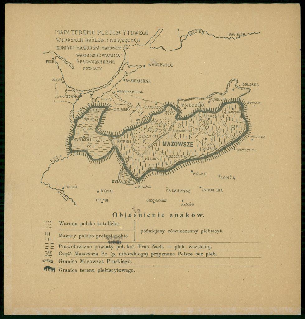 stara mapa warmii i mazur z zaznaczonymi terenami plebiscytowymi