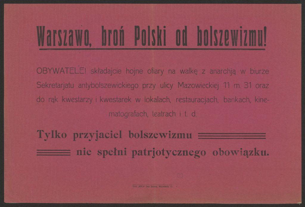 Afisz Warszawo, broń Polski od bolszewizmu!