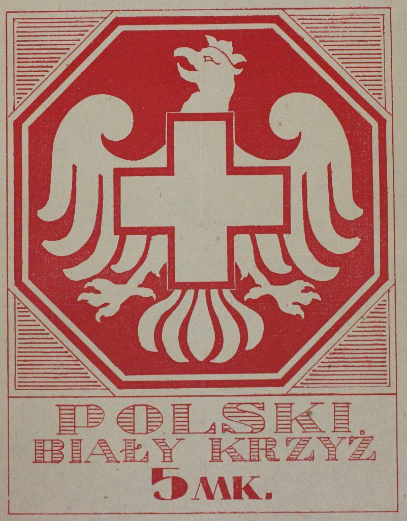 znaczek pocztowy z białym krzyżem wpisanym w orła i napisem polski biały krzyż i ceną 5 marek