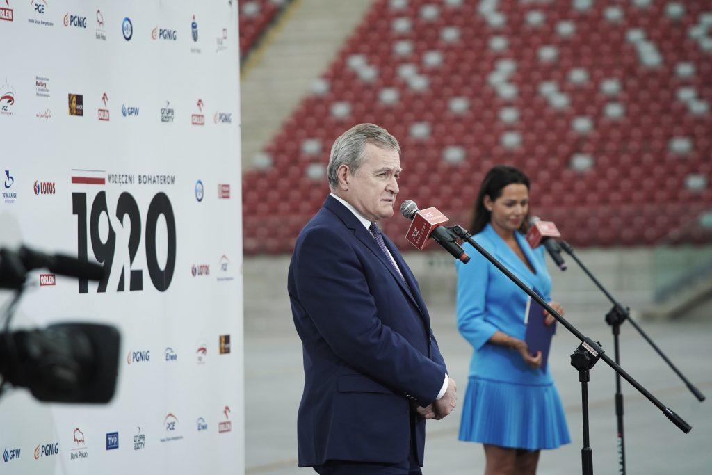 Wicepremier, Minister Kultury i Dziedzictwa Narodowego Prof. Piotr Gliński przemawiający w czasie konferencji prasowej