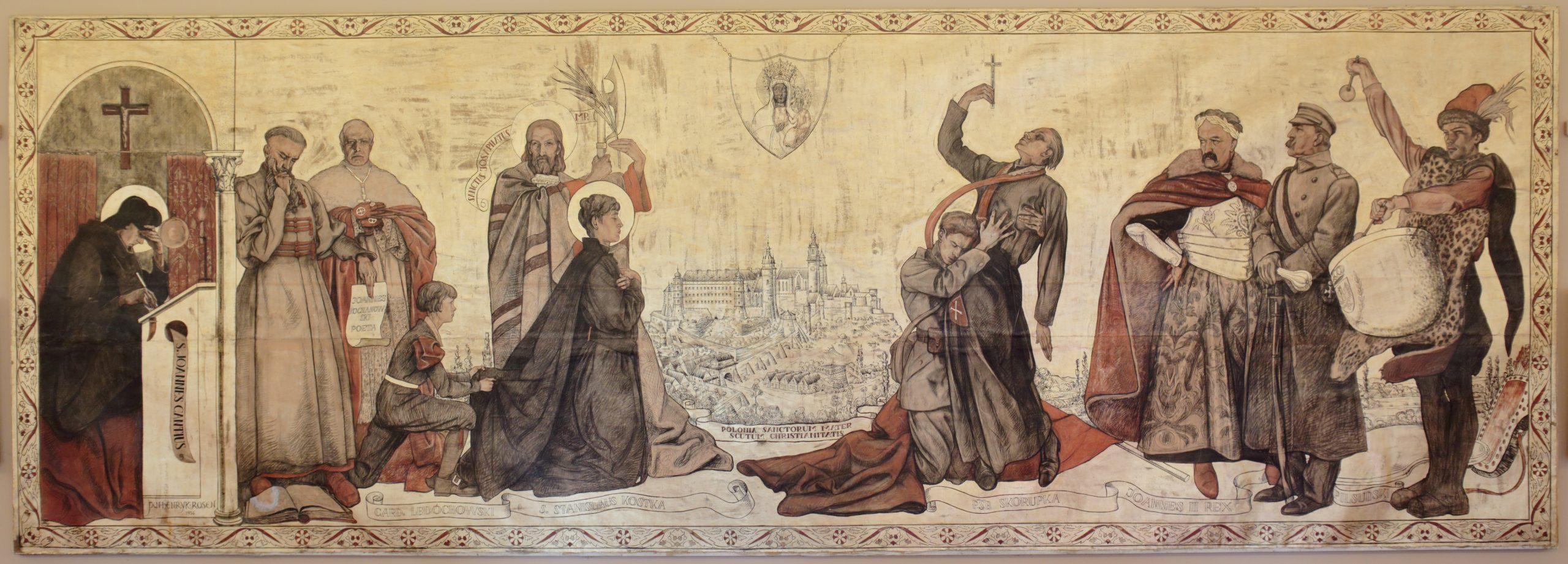Obraz przedstawia jedenaście postaci rozmieszczonych w dwóch grupach po obu stronach przedstawionego centralnie, konturowego, opartego na XVII-wiecznym przekazie graficznym przedstawienia Wawelu, ponad którym widnieje ryngraf z wizerunkiem Matki Boskiej Częstochowskiej.