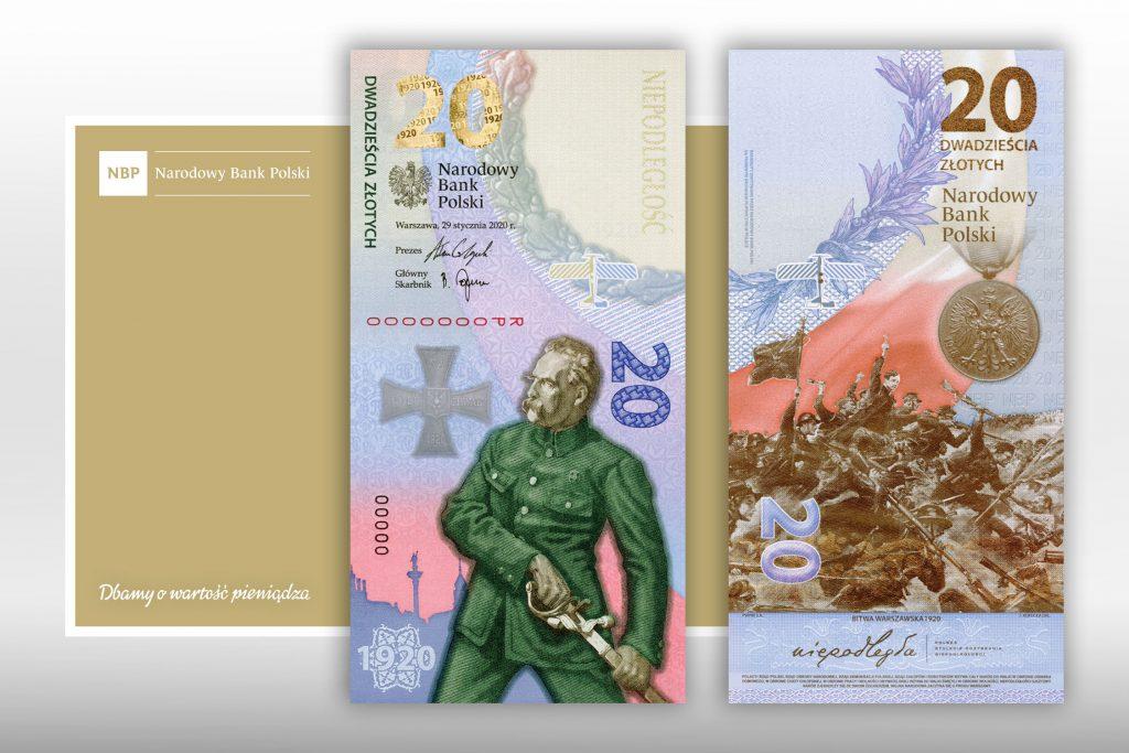 baner z awersem i rewersem banknotu, logo NBP i napisem Bitwa Warszawska 1920