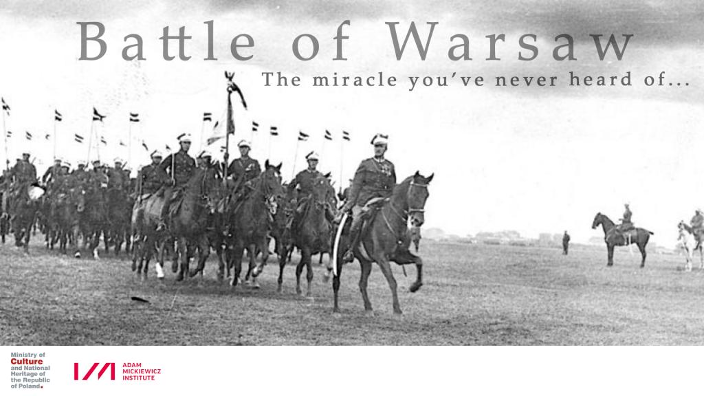 baner filmowy z dawnym zdjęciem oddziału kawalerii