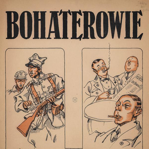plakat podzielony na dwie części - jedna ukazuje żołnierzy, druga dżentelmenów w kawiarni