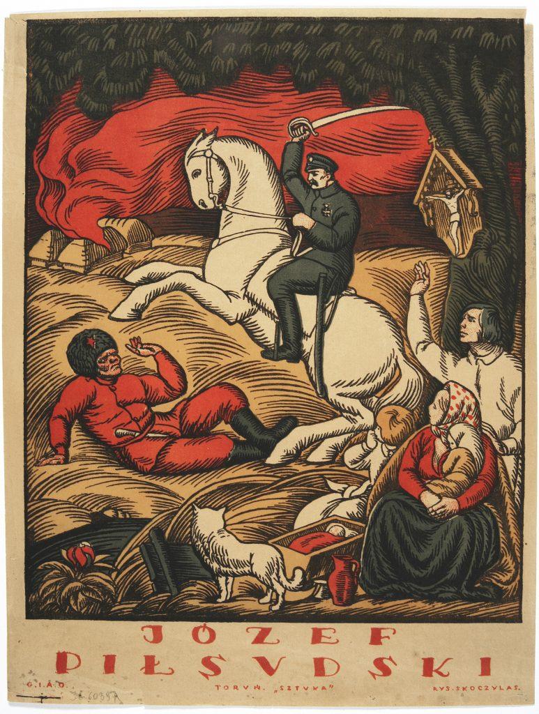 plakat z Piłsudskim na koniu bijącym czerwonego bolszewika, chroniącym rodzinę z małymi dziećmi