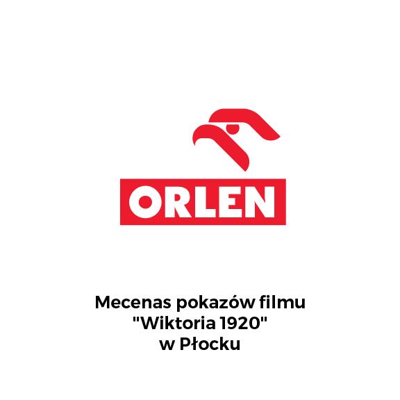 """logo Orlenu  z podpisem Mecenas pokazów filmu """"Wiktoria 1920"""" w Płocku"""